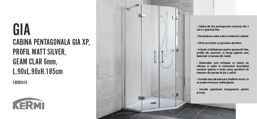 cabina pentagonala gia xp pr matt silver geam clar 6mm. Black Bedroom Furniture Sets. Home Design Ideas